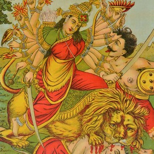 Mahishasur Mardhini by Raja Ravi Varma, Illustration Printmaking, Lithography on Paper, Brown color