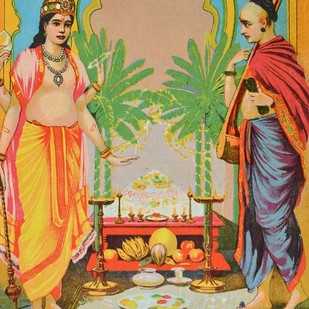 Satyanarayan by Raja Ravi Varma, Illustration Printmaking, Lithography on Paper, Beige color