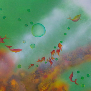 underwater by gunjan dhillon, Impressionism Painting, Mixed Media, Green color
