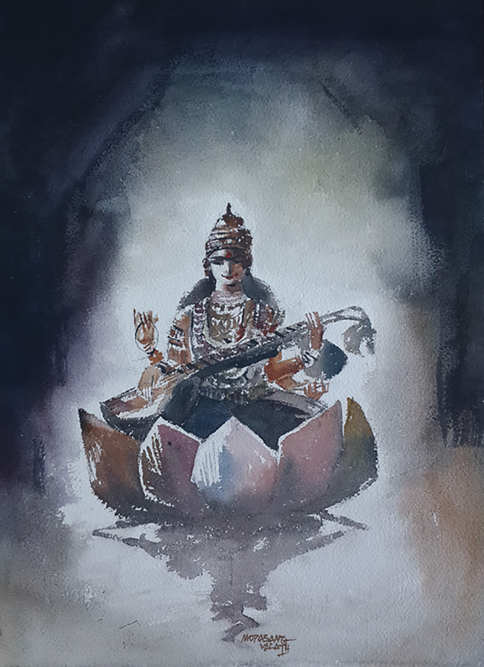 Goddess Saraswati By Artist Mopasang Valath