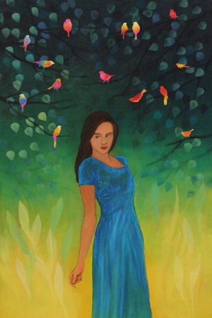Evening Tweets by Priyanka Waghela, Expressionism Painting, Acrylic on Canvas, Green color