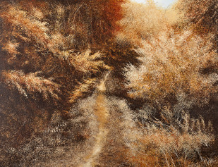 Sun's Golden Ray by Vimal Chand, Impressionism Painting, Acrylic on Canvas, Brown color
