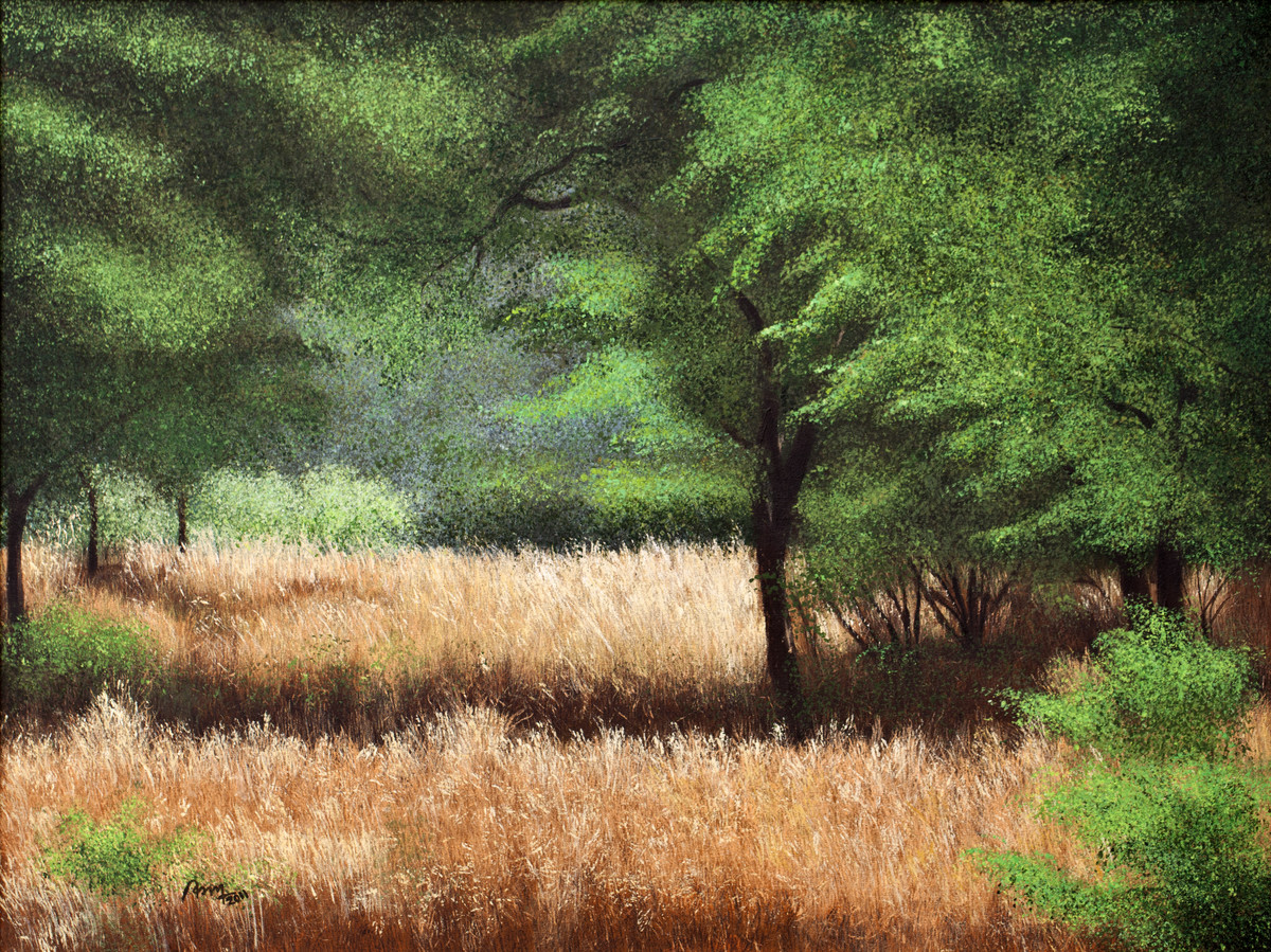 Nature's Stroke by Vimal Chand, Impressionism Painting, Acrylic on Canvas, Green color