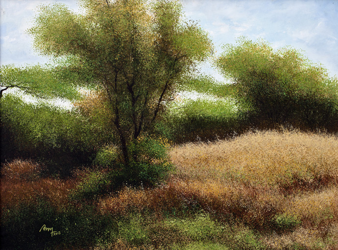 Almond Brown Forest by Vimal Chand, Impressionism Painting, Acrylic on Canvas, Brown color