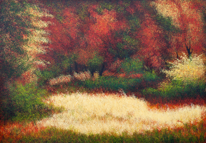 Lush Garden of Eden by Vimal Chand, Impressionism Painting, Acrylic on Canvas, Brown color