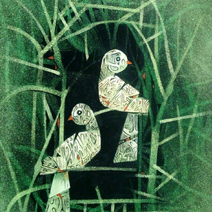 HOME by SUBHASISH DAS, Impressionism Painting, Mixed Media on Paper, Green color