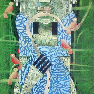 KRISHNA WITH BIRDS by Subhasish Das, Conceptual Painting, Mixed Media on Canvas, Green color