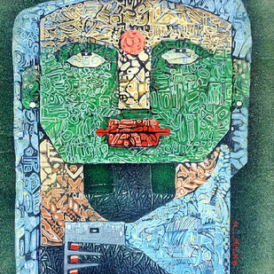 LADY by Subhasish Das, Expressionism Painting, Mixed Media on Paper, Green color