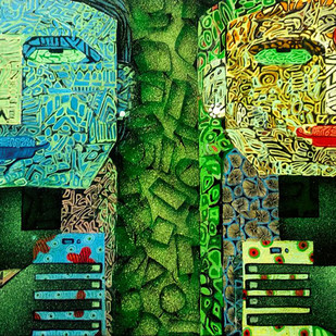 MAN & WOMAN by SUBHASISH DAS, Expressionism Painting, Mixed Media on Canvas, Green color
