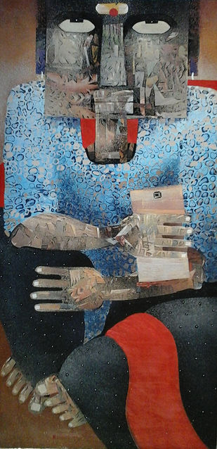MAN 1 by SUBHASISH DAS, Expressionism Painting, Mixed Media on Canvas, Gray color