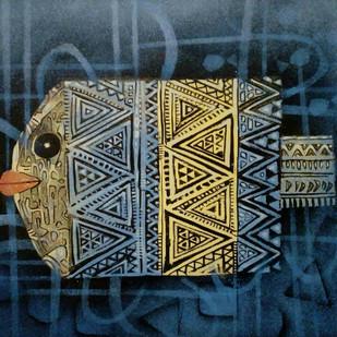MATSYA 3 by SUBHASISH DAS, Impressionism Painting, Mixed Media on Paper, Green color