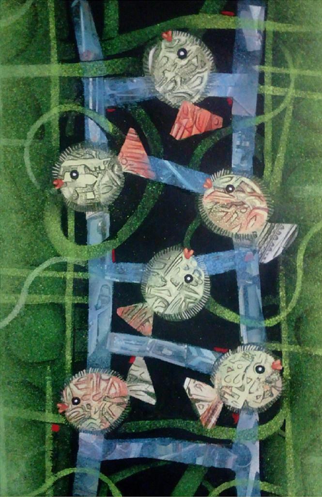 MATSYA 4 by SUBHASISH DAS, Impressionism Painting, Mixed Media on Paper, Green color