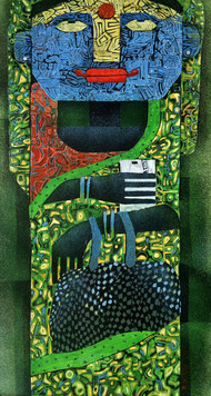 WOMAN 2 by SUBHASISH DAS, Expressionism Painting, Mixed Media on Canvas, Green color