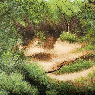 A walk in the Jungle by Vimal Chand, Impressionism Painting, Acrylic on Canvas, Green color