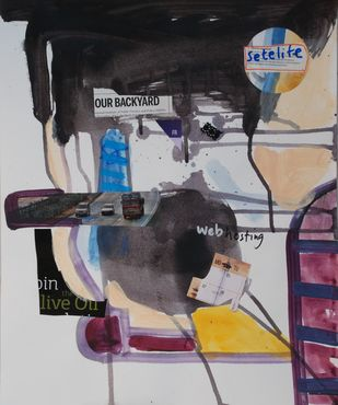 Web Hosting by Harpreet Singh, Conceptual Painting, Acrylic on Paper, Gray color