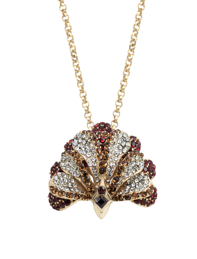 Plume Pendant cum brooch in Swaroski by Nine Vice, Art Jewellery Pendant