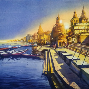 Day for Night by Sunil Linus De, Impressionism Painting, Watercolor on Paper, Blue color