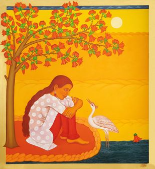 Tryst with Nature Series by Sabia Khan, Impressionism Painting, Oil on Canvas, Orange color