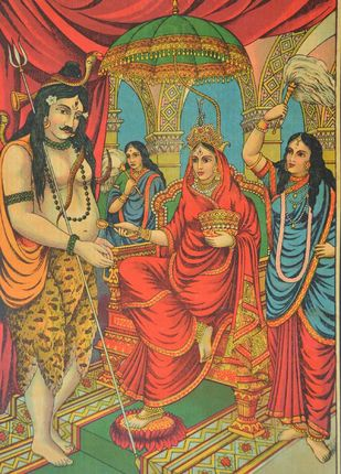 Annapurna by Raja Ravi Varma, Illustration Printmaking, Lithography on Paper, Brown color