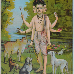 Dattatreya by Raja Ravi Varma, Illustration, Illustration Printmaking, Lithography on Paper, Green color