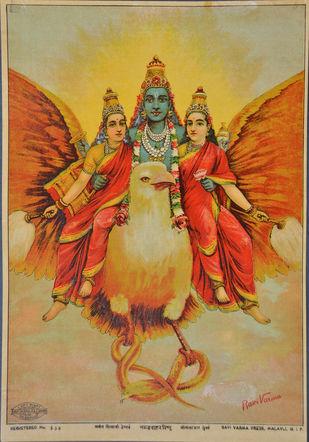 Garud Vahan Vishnu by Raja Ravi Varma, Conceptual Printmaking, Lithography on Paper, Beige color