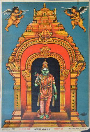 Gopur Minashi by Raja Ravi Varma, Illustration Printmaking, Lithography on Paper, Brown color