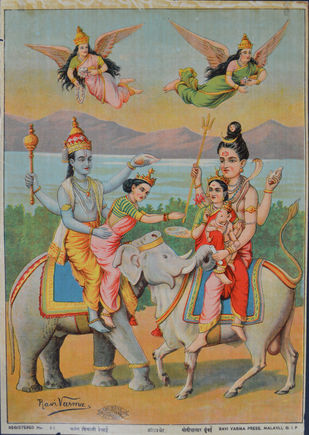 Harihar Bhet by Raja Ravi Varma, Illustration Printmaking, Lithography on Paper, Brown color