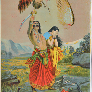 Jatayu Vadh by Raja Ravi Varma, Illustration Printmaking, Lithography on Paper, Beige color