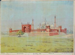 Jumma Masjid Delhi by Raja Ravi Varma, Illustration Printmaking, Lithography on Paper, Beige color