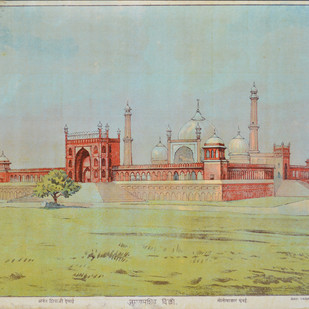Jumma Masjid Delhi by Raja Ravi Varma, Illustration Printmaking, Lithography on Paper, Beige color