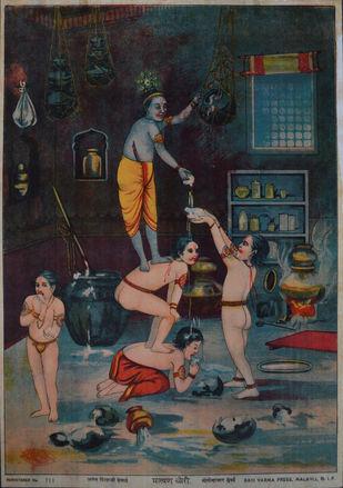 Makhan Chori by Raja Ravi Varma, Illustration Printmaking, Lithography on Paper, Gray color