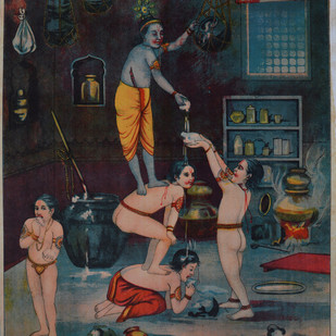 Makhan Chori by Raja Ravi Varma, Illustration Printmaking, Lithography on Paper, Gray color