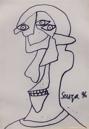 untitled by F N Souza, Expressionism Drawing, Ink on Paper, Gray color