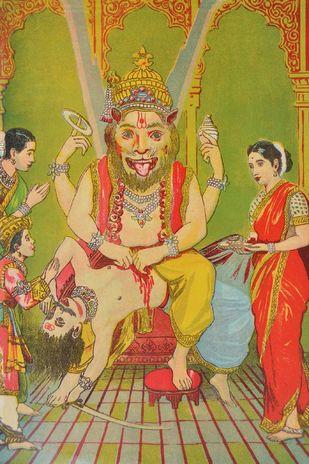 Narasimha by Raja Ravi Varma, Illustration Printmaking, Lithography on Paper, Brown color