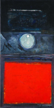 Devine Mother by Vijay Shinde, Conceptual Painting, Acrylic on Canvas, Red color