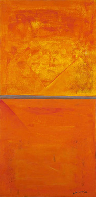 UNTITLED by Vijay Shinde, Expressionism Painting, Acrylic on Canvas, Orange color