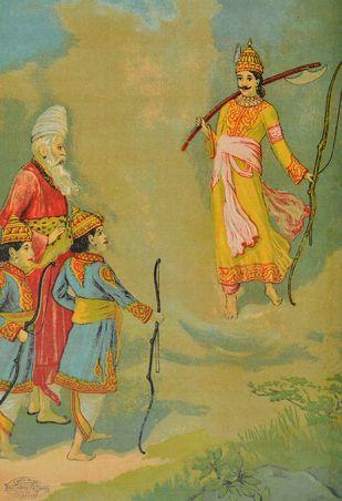 Parshuram Ram yudh by Raja Ravi Varma, Illustration Printmaking, Lithography on Paper, Beige color