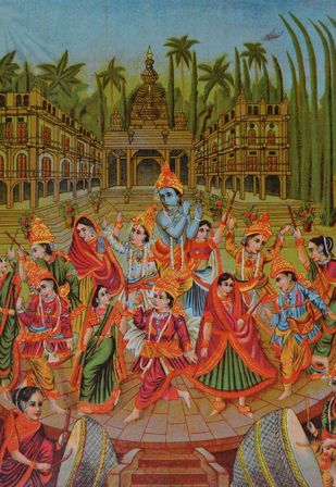 Raas Mandal by Raja Ravi Varma, Illustration Printmaking, Lithography on Paper, Brown color