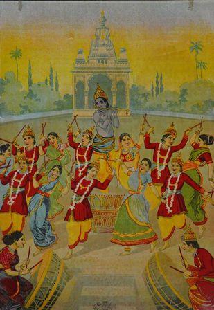 Rasakrida by Raja Ravi Varma, Illustration Printmaking, Lithography on Paper, Brown color