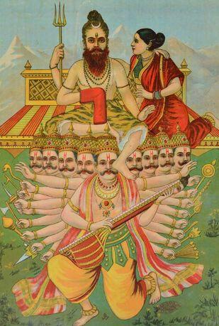 Ravan Kailash Andolan by Raja Ravi Varma, Illustration Printmaking, Lithography on Paper, Brown color