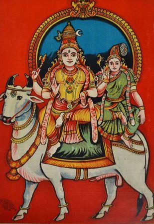 Rishabavahana Minashi Sundara by Raja Ravi Varma, Illustration Printmaking, Lithography on Paper, Brown color