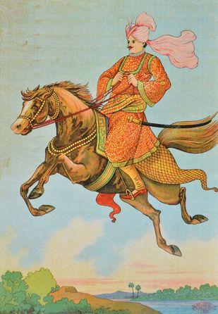 Shani Mahatma no2 by Raja Ravi Varma, Illustration Printmaking, Lithography on Paper, Beige color
