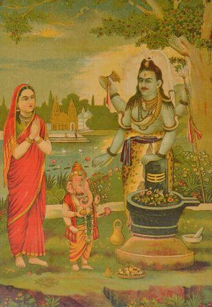 Shankar Upasna by Raja Ravi Varma, Illustration Printmaking, Lithography on Paper, Brown color