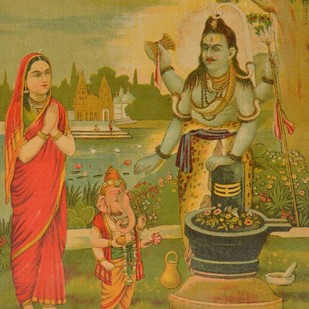 Shankar Upasna by Raja Ravi Varma, Illustration Printmaking, Lithography on Paper, Brown color