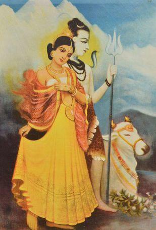 Shiv Parvati by Raja Ravi Varma, Illustration Printmaking, Lithography on Paper, Brown color