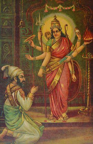 Shivaji Bhavani by Raja Ravi Varma, Illustration Printmaking, Lithography on Paper, Brown color
