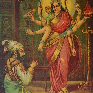 Shivaji Bhavani by Raja Ravi Varma, Illustration Printmaking, Lithography on Paper, Brown color