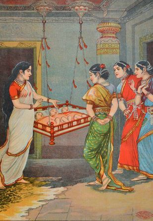 Shree Datt Janma by Raja Ravi Varma, Illustration Printmaking, Lithography on Paper, Brown color