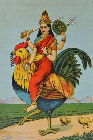 Shri Bahuchara Ji by Raja Ravi Varma, Illustration Printmaking, Lithography on Paper, Beige color
