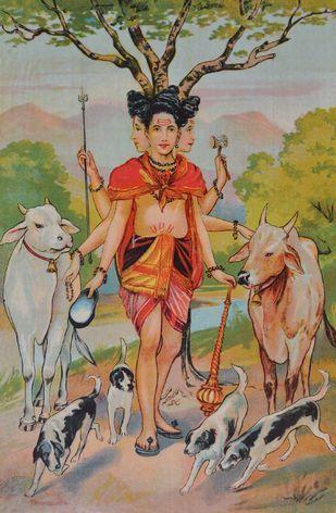 Shri Datt Maharaj by Raja Ravi Varma, Illustration Printmaking, Lithography on Paper, Brown color